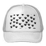 Animal Paw Print Pattern. Black and White. Trucker Hats