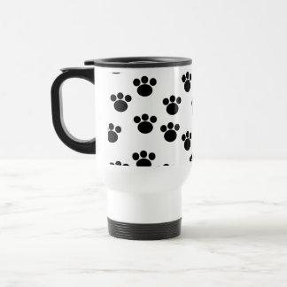 Animal Paw Print Pattern Black and White Mugs