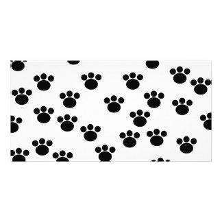 Animal Paw Print Pattern Black and White Photo Cards