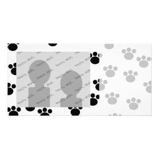 Animal Paw Print Pattern. Black and White. Personalised Photo Card