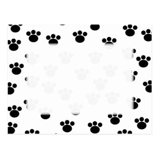 Animal Paw Print Pattern. Black and White. Postcard
