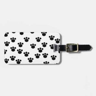 Animal Paw Print Pattern. Black and White. Travel Bag Tag