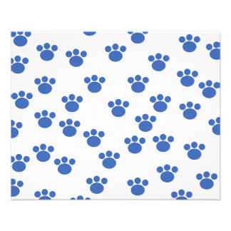 Animal Paw Print Pattern. Blue and White. 11.5 Cm X 14 Cm Flyer