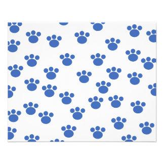 Animal Paw Print Pattern. Blue and White. 11.5 Cm X 14 Cm Flyer