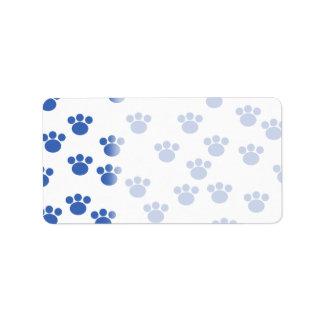 Animal Paw Print Pattern. Blue and White. Address Label