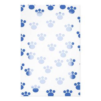 Animal Paw Print Pattern. Blue and White. Custom Stationery