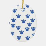 Animal Paw Print Pattern. Blue and White. Christmas Ornament