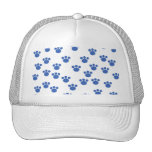 Animal Paw Print Pattern. Blue and White. Hats