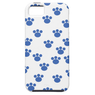 Animal Paw Print Pattern. Blue and White. iPhone 5 Cases