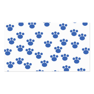 Animal Paw Print Pattern. Blue and White. Pack Of Standard Business Cards