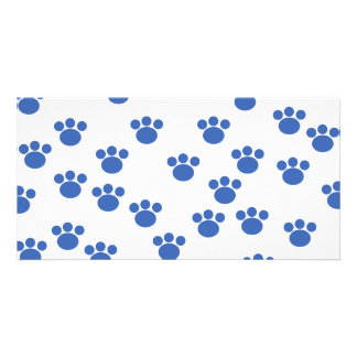 Animal Paw Print Pattern. Blue and White. Photo Card Template