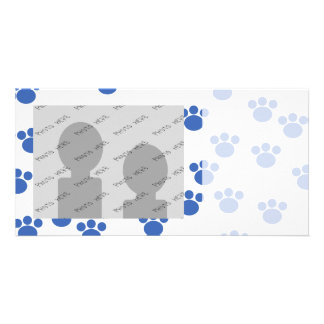 Animal Paw Print Pattern. Blue and White. Photo Greeting Card