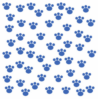 Animal Paw Print Pattern. Blue and White. Photo Sculpture Badge