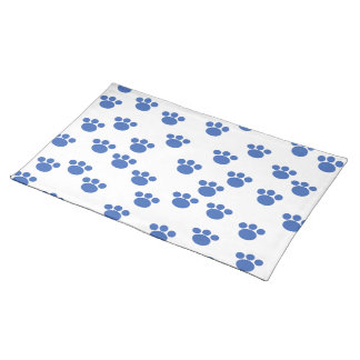 Animal Paw Print Pattern. Blue and White. Placemat