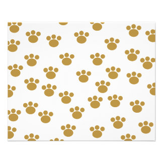 Animal Paw Prints. Brown and White Pattern. 11.5 Cm X 14 Cm Flyer