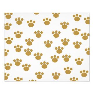 Animal Paw Prints. Brown and White Pattern. 11.5 Cm X 14 Cm Flyer