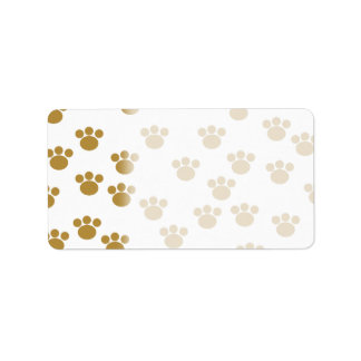 Animal Paw Prints. Brown and White Pattern. Address Label