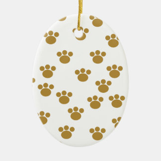 Animal Paw Prints. Brown and White Pattern. Christmas Ornament