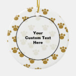 Animal Paw Prints. Brown and White Pattern. Christmas Tree Ornament