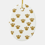 Animal Paw Prints. Brown and White Pattern. Christmas Ornaments