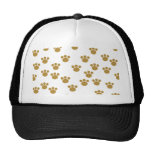 Animal Paw Prints. Brown and White Pattern. Trucker Hats