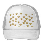 Animal Paw Prints. Brown and White Pattern. Hats