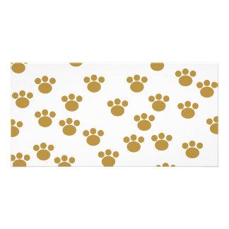 Animal Paw Prints. Brown and White Pattern. Custom Photo Card