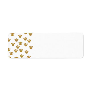 Animal Paw Prints. Brown and White Pattern. Return Address Label