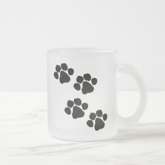 Animal Paw Prints Frosted Glass Coffee Mug