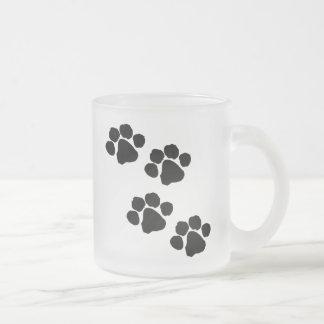Animal Paw Prints Frosted Glass Mug