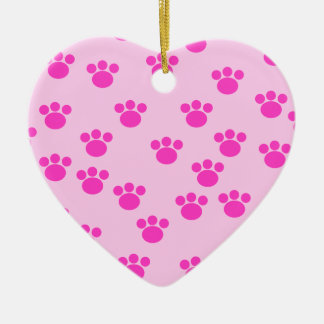 Animal Paw Prints. Light Pink and Bright Pink. Christmas Ornament