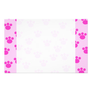 Animal Paw Prints. Light Pink and Bright Pink. Customized Stationery
