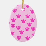 Animal Paw Prints. Light Pink and Bright Pink. Ornaments