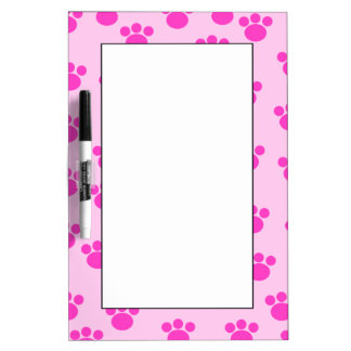 Animal Paw Prints. Light Pink and Bright Pink. Dry Erase Board