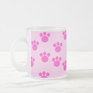 Animal Paw Prints. Light Pink and Bright Pink. Frosted Glass Coffee Mug
