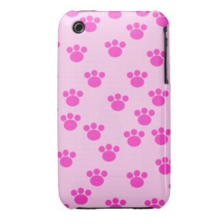 Animal Paw Prints. Light Pink and Bright Pink. iPhone 3 Cases