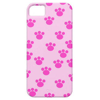 Animal Paw Prints. Light Pink and Bright Pink. iPhone 5 Cover