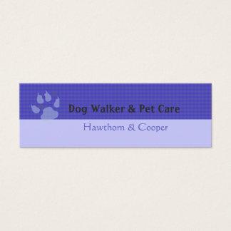 Animal Paws Minimal Purple Pattern Mini Business Card