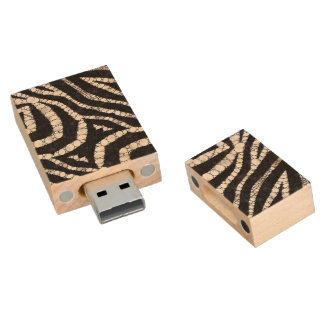 Animal Print Abstract Wood USB Flash Drive