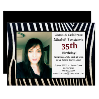 Animal Print Adult Birthday Photo Invitations
