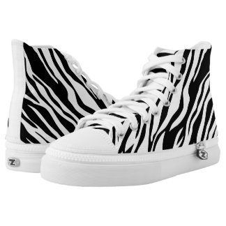 Animal print black and white high tops