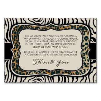 Animal Print Bridal Shower Insert Card