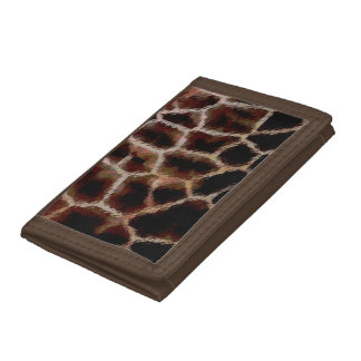 Animal Print Brown Trifold Wallet