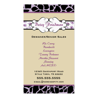 Animal Print Business Card: Purple