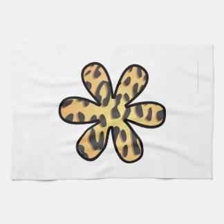 Animal Print, Cheetah, Flower - Black Yellow Tea Towel