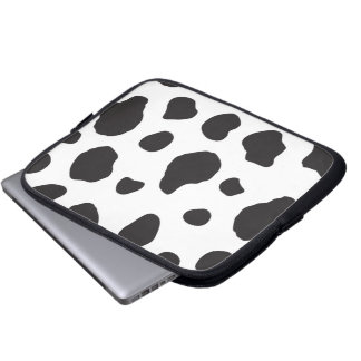 Animal Print (Cow Print), Cow Spots - White Black Laptop Computer Sleeve