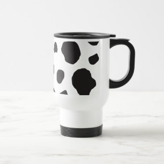 Animal Print (Cow Print), Cow Spots - White Black Stainless Steel Travel Mug