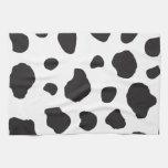 Animal Print Fur Skin Cow White, Black Towels