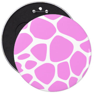 Animal Print (Giraffe Pattern) - Pink White 6 Cm Round Badge