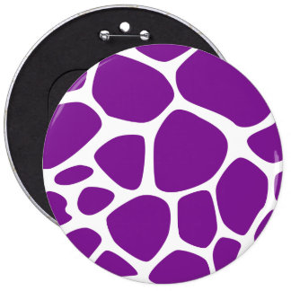 Animal Print (Giraffe Pattern) - Purple White 6 Cm Round Badge
